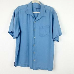 Tommy Bahama Blue Button Down Mens Silk Shirts L